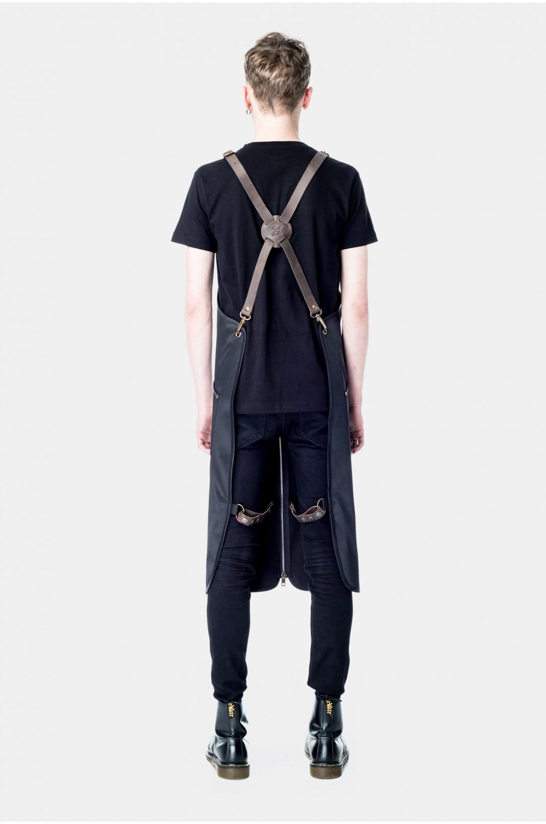 Black Zipper Leather Braces